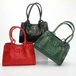 Women's Genuine Crocodile Leather Satchel Shoulder Bag