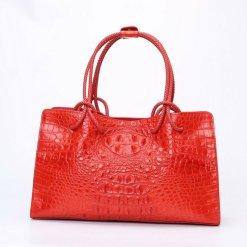 Women's Genuine Crocodile Leather Satchel Shoulder Bag Red