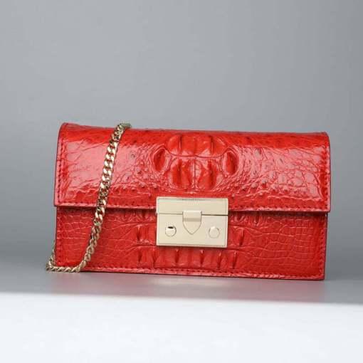 Women Genuine Crocodile Chain Shoulder Bag Red