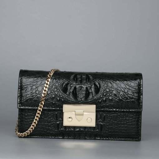 Women Genuine Crocodile Chain Shoulder Bag Black