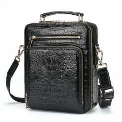 Mens Genuine Crocodile Cross-Body Shoulder Bags Black
