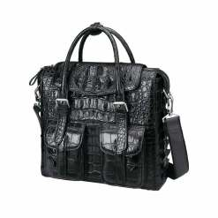 Crocodile Briefcase Shoulder Cross-body Business Bag Black