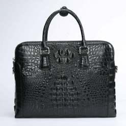 Mens Crocodile Leather Briefcase Black