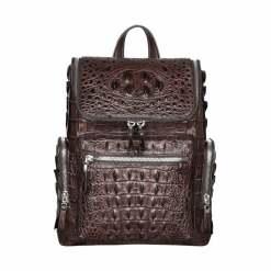 Genuine Crocodile Travel Backpack Men's Bag Brown