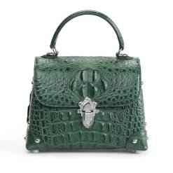 Genuine Crocodile Skin Womens Handle Handbag Fashion Satchel Dark Green