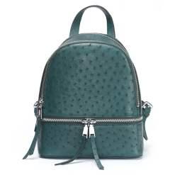 Genuine Ostrich Backpack for Women Elegant Ladies Travel Shoulder Bag Dark Green