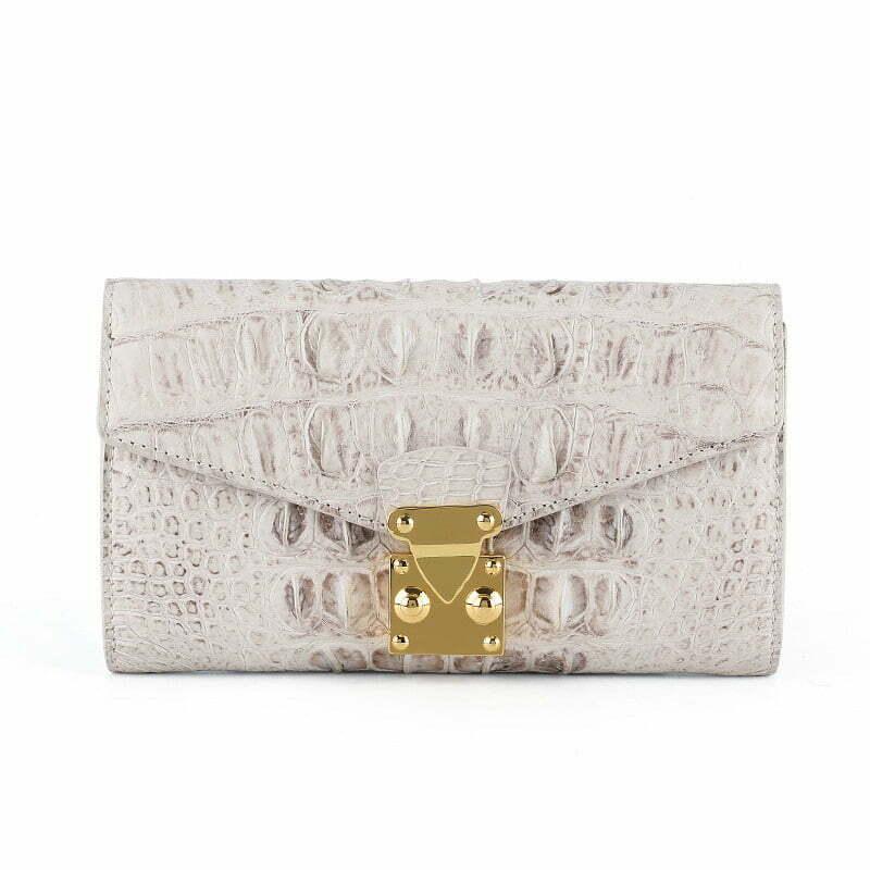 Crocodile Leather Women Wallet Fashion Purse White