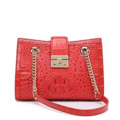 Genuine Crocodile Women's Chain Shoulder Bag Red