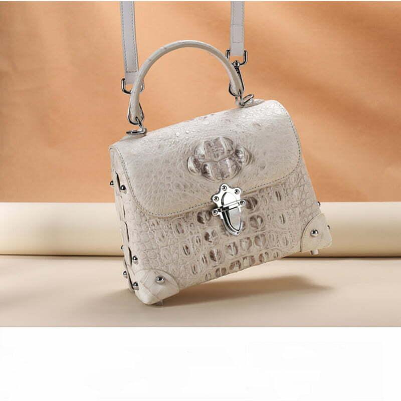 Crocodile Leather Women's Handle bag Fashion Satchel White