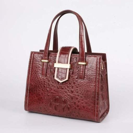 Women Real Crocodile Handle Bag Alligator Shoulder Bag Wine Red