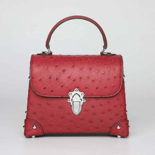 Genuine Ostrich Leather Womens Tote Handbag Wine Red