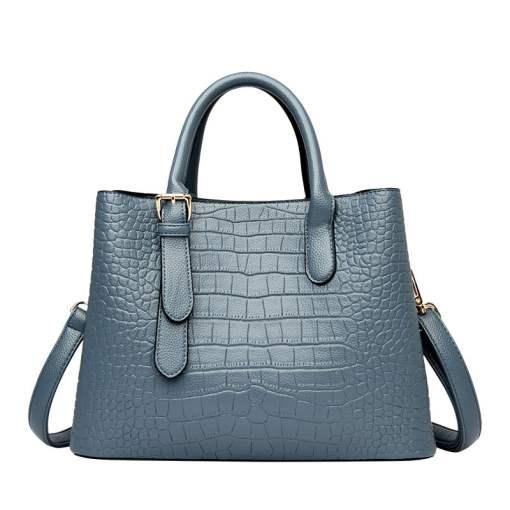 Crocodile Texture Leather Tote Shoulder Bag Blue