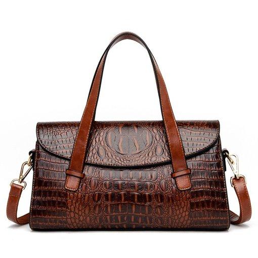 Fashion Vintage Crocodile Casual PU Leather Tote Bag Coffee