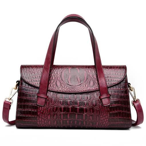 Fashion Vintage Crocodile Casual PU Leather Tote Bag Burgundy