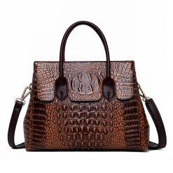 Fashion Crocodile Texture PU Leather Tote Bag Ladies Coffee