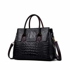 Fashion Crocodile Texture PU Leather Tote Bag Ladies Handbag Black