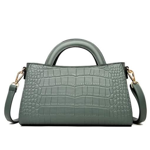 Fashion Crocodile Texture PU Shoulder Crossbody Bag Green