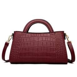Fashion Crocodile Texture PU Shoulder Crossbody Bag Wine Red