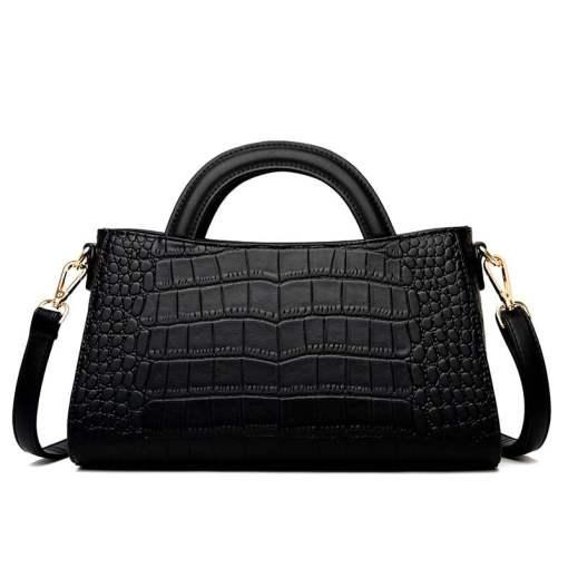 Fashion Crocodile Texture PU Shoulder Crossbody Bag Black