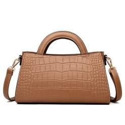 Fashion Crocodile Texture PU Shoulder Crossbody Bag Khaki