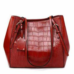 Crocodile Pattern Casual PU Shoulder Leather Shoulder Bags Wine Red