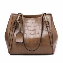 Crocodile Pattern Casual PU Shoulder Leather Shoulder Bags Khaki