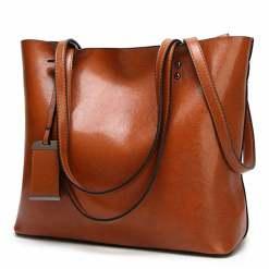 Women's Elegant Leather Shoulder Bag Office Large Handbag Brown