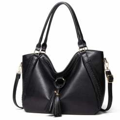 Fashion Designer Large Soft PU Leather Exotic Casual Shoulder Bags Black
