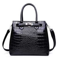 Luxury PU Leather Alligator Pattern Tote Crocodile Shoulder Bag Black