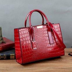 Crocodile Texture U Leather Crossbody Tote Shoulder Bag Red
