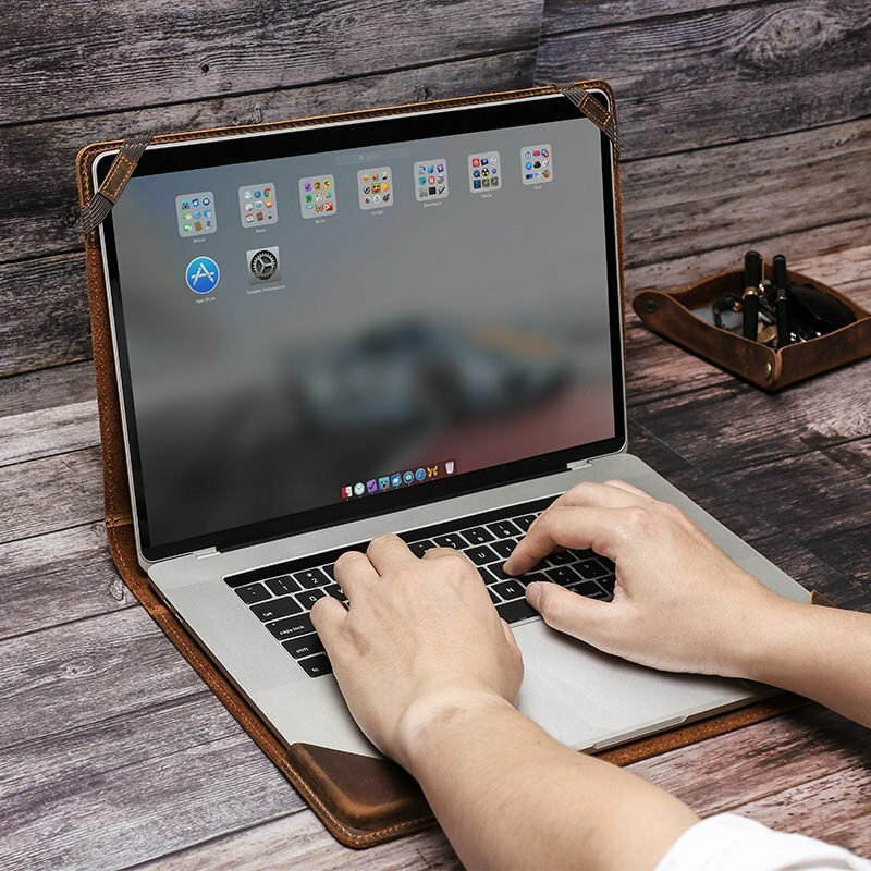 Retro Leather Laptop Sleeve Case for Macbook Pro 15.4