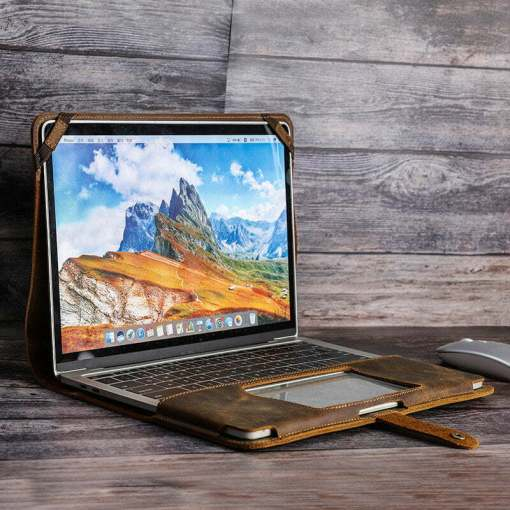Leather Laptop Sleeve Case Bag For Macbook Pro 13.3 inch