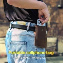 Retro Genuine Leather Phone Waist Bag Holder