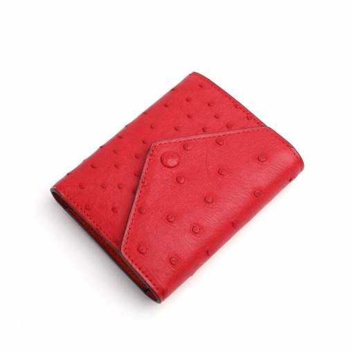 Genuine Ostrich Womens Billfold Wallet Red