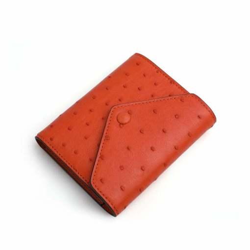 Genuine Ostrich Womens Billfold Wallet Orange