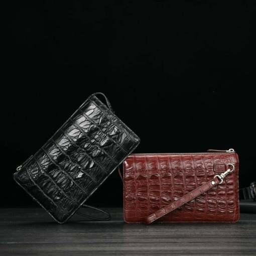 Men's Alligator Crocodile Leather Clutch Wallet Handbag