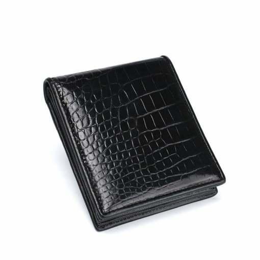 Genuine Crocodile Men Short Bifold Wallet Alligator Belly Skin Black