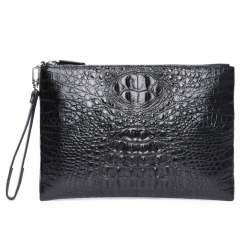 Real Crocodile Skin Mens Clutch Bag Alligator Pouch Black