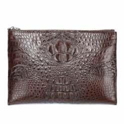 Real Crocodile Skin Mens Clutch Bag Alligator Pouch Brown