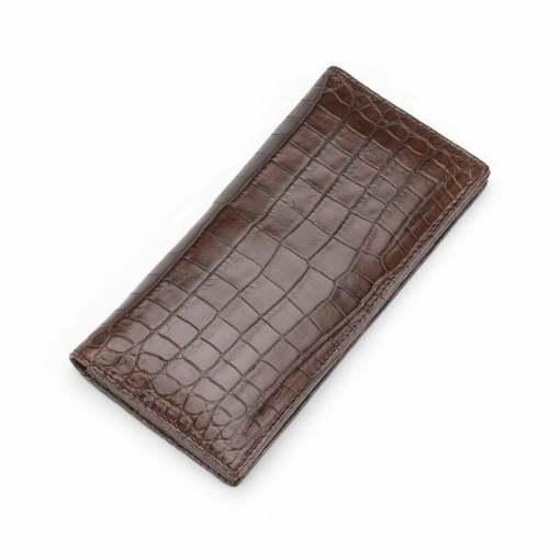 Genuine Crocodile Skin Mens Billfold Long Wallet Purse Brown