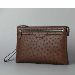 Men's Genuine Ostrich Leather Pouch Clutch Bag Brown