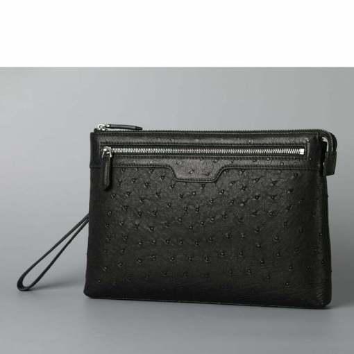 Men's Genuine Ostrich Leather Pouch Clutch Bag Black