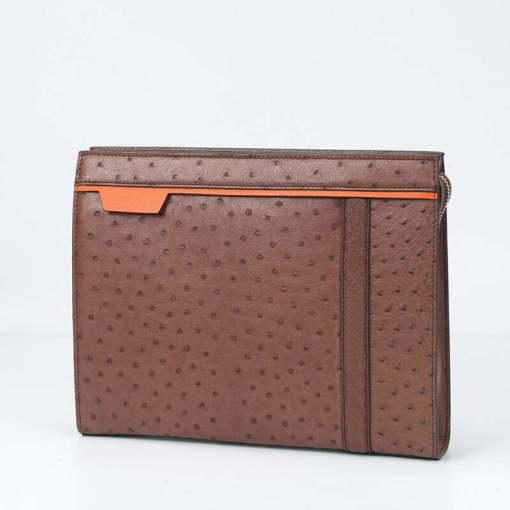 Ostrich Leather Pouch Men's Clutch Bag