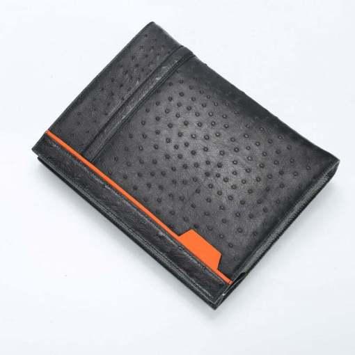 Ostrich Leather Pouch Men's Clutch Bag Black