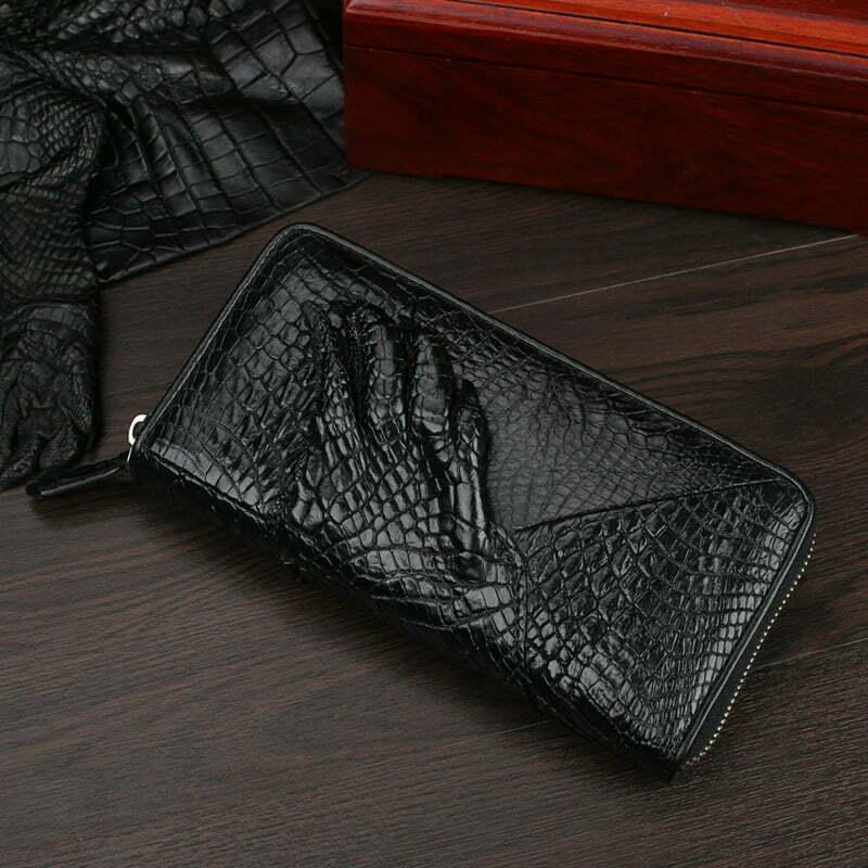 Mens Genuine Crocodile Zipper Long Wallet Purse