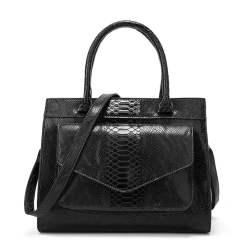 Snakeskin Texture PU Leather Satchel Shoulder Bag Black