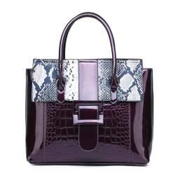 Luxury Designer Crocodile Pattern Patent Leather Shoulder Bags Purple