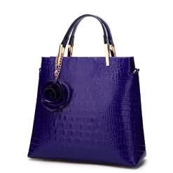 Women's Bags PU Leather Tote Satchel Crocodile Leather Shoulder Bags Blue