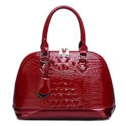 Luxury Designer Crocodile Pattern PU Leather Tote Shoulder Bags Red