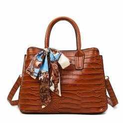 Women's Fashion PU Leather Shoulder Tote Bag Brown